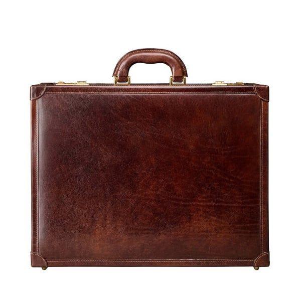 Maxwell Scott® PERSONNALISABLE Bagage Cabine en Cuir Italien Marron Foncé (Farini) UYnPomz