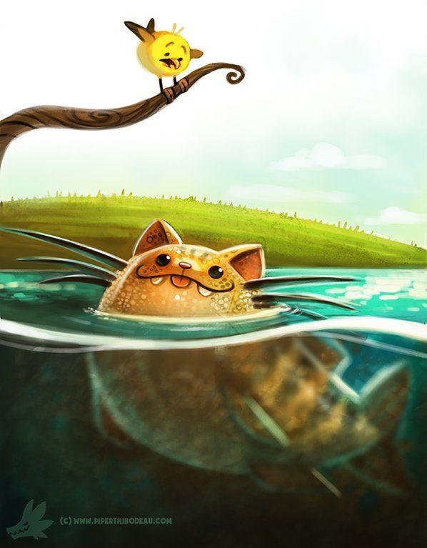 Daily Paint #989. Cat-fish, Piper Thibodeau on ArtStation at https://www.artstation.com/artwork/daily-paint-989-cat-fish