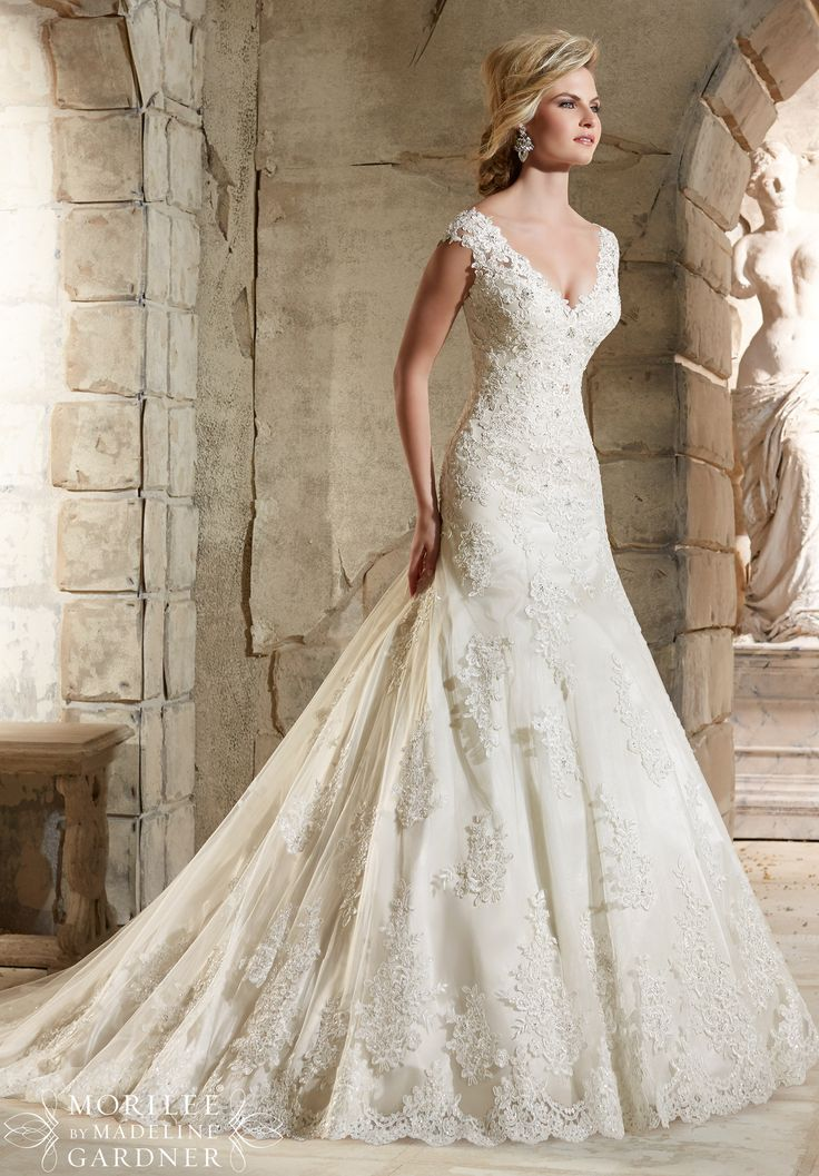 Wedding Dresses 2785 Alencon Lace Appliques on Net with Crystal Beading and Scalloped Hemline Over Soft Satin