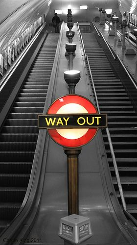 WAY OUT: Swiss Cottage Underground Station. London