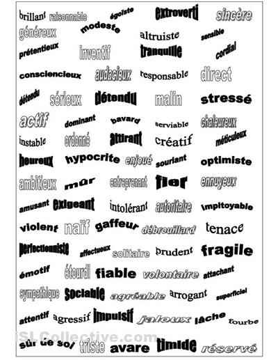 Adjectifs personnalité