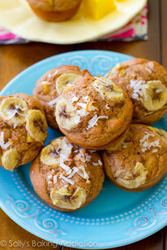Skinny, Bikini-Friendly Tropical Muffins. Made with bananas, pineapple, orange zest, yogurt, whole wheat flour, and coconut. Easy, moist, low-fat, healthy muffins!