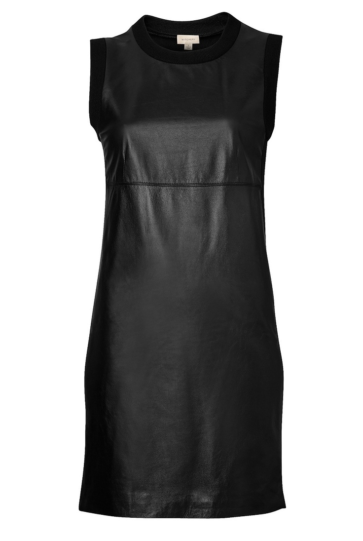 A leather knit shift dress- a sophisticated dress that is super easy to wear. Witchery.