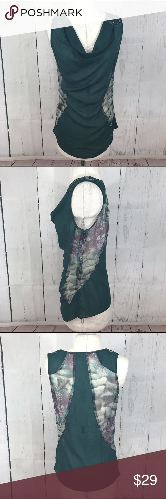 """💛💛 LULUMARI TEAL PRINTED BLOUSE B10 Condition: EUC Approximate measurements (laying flat): 15"""" bust 23"""" length  Item location: bin 10   **bundles save 10%** no trades/no modeling/no asking for lowest Anthropologie Tops Blouses"""