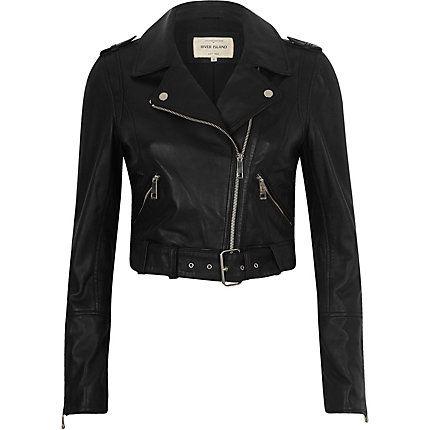 Black leather belted biker jacket $240.00