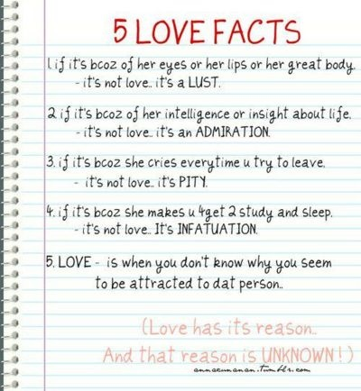 I like how this shows the difference between love and lust, love and infatuation, and love and pity.