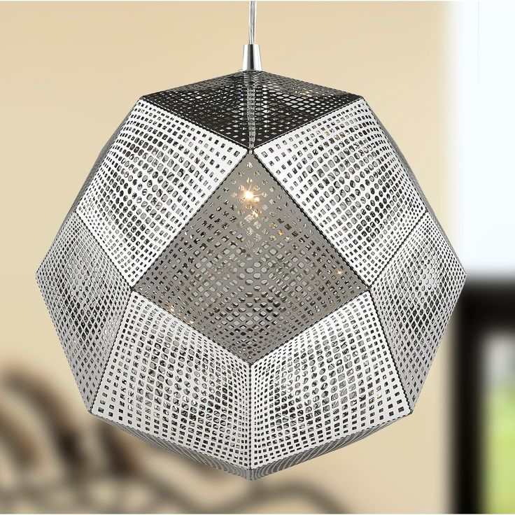 """Brilliance Lighting and Chandeliers Apex Collection 1 Light Chrome Finish Finish Stainless Steel Pendant D12"""" H12"""", Silver (Metal)"""