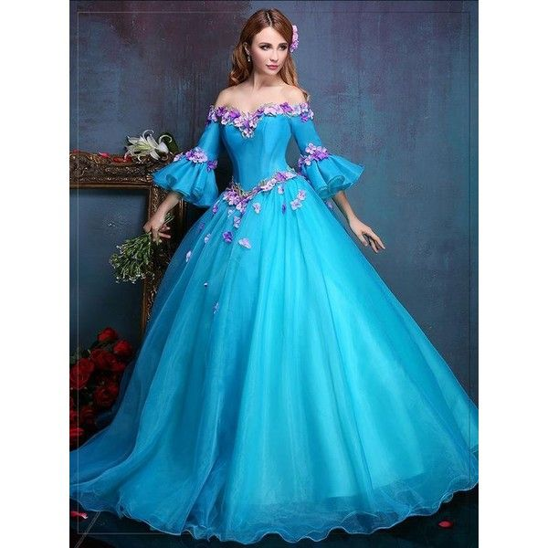 100%real royal embroidery blue flower ball gown Medieval dress... ❤ liked on Polyvore featuring costumes, flower halloween costume, belle costume, belle halloween costume, blue halloween costume and princess belle halloween costume