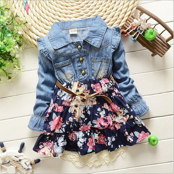 nova moda primavera outono do bebê meninas vestem roupas crianças Lace Denim outerwear de manga comprida vestidos meninas vestidos de jaqueta, Compro Qualidade Vestidos diretamente de fornecedores da China: