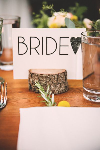DIY place card: http://www.stylemepretty.com/california-weddings/big-sur/2015/04/22/bohemian-redwood-wedding-in-big-surmirna-ben-bohemian-redwood-wedding-in-big-sur/ | Photography: Briana Purser - http://brianapurserphotography.com/