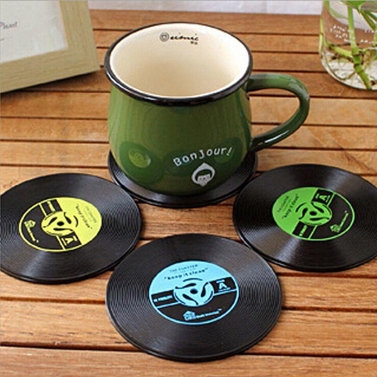 Venta caliente 4 Unids Vinilo Coaster Retro Vinilo CD Record Tazas Taza Portavasos Estera Mantel Vajilla Para Bar En Casa accesorios