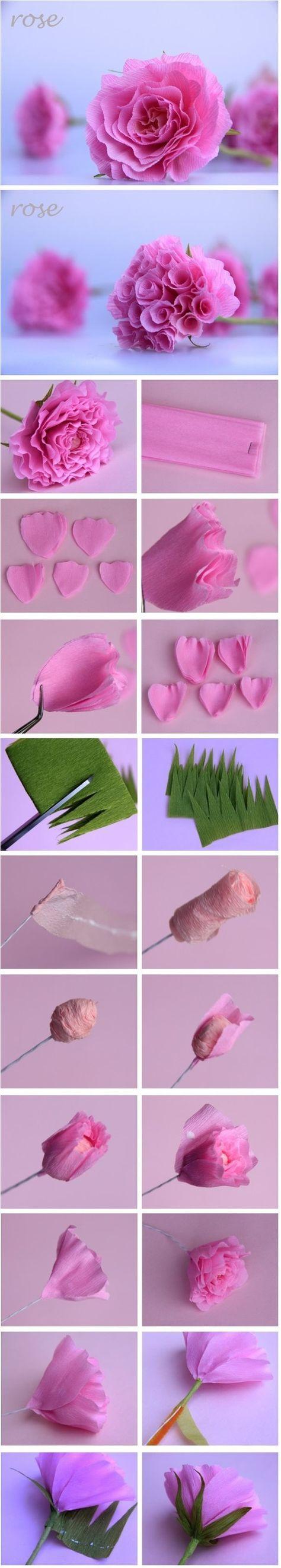 Fleur En Papier Crepon Facile A Faire à les 9 meilleures images du tableau flores de papel sur pinterest