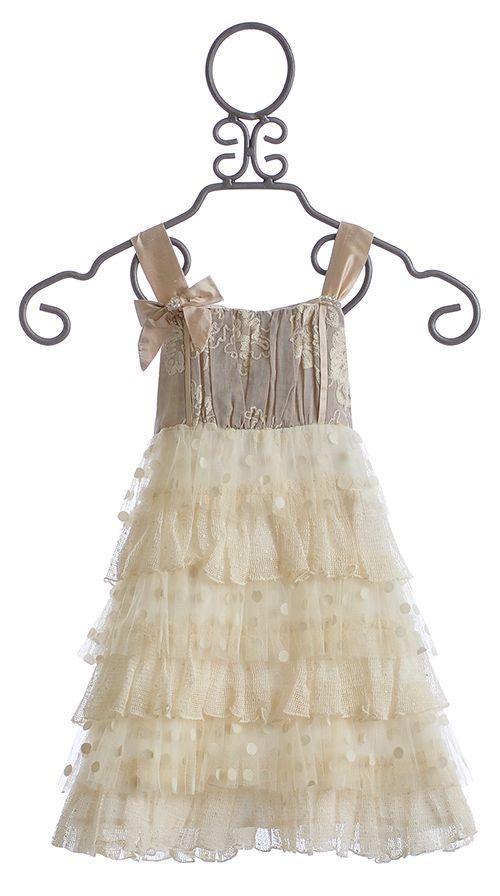 Isobella and Chloe Creme Brulee Girls Ruffled Dress $49.00