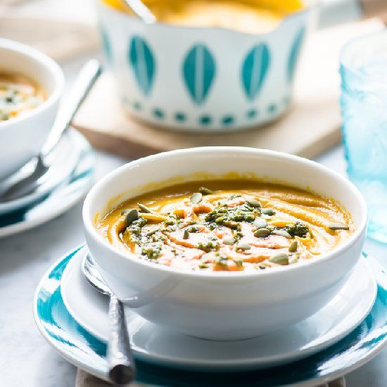 Roasted Carrot and Butternut Squash Soup with Walnut Pesto and Red ...