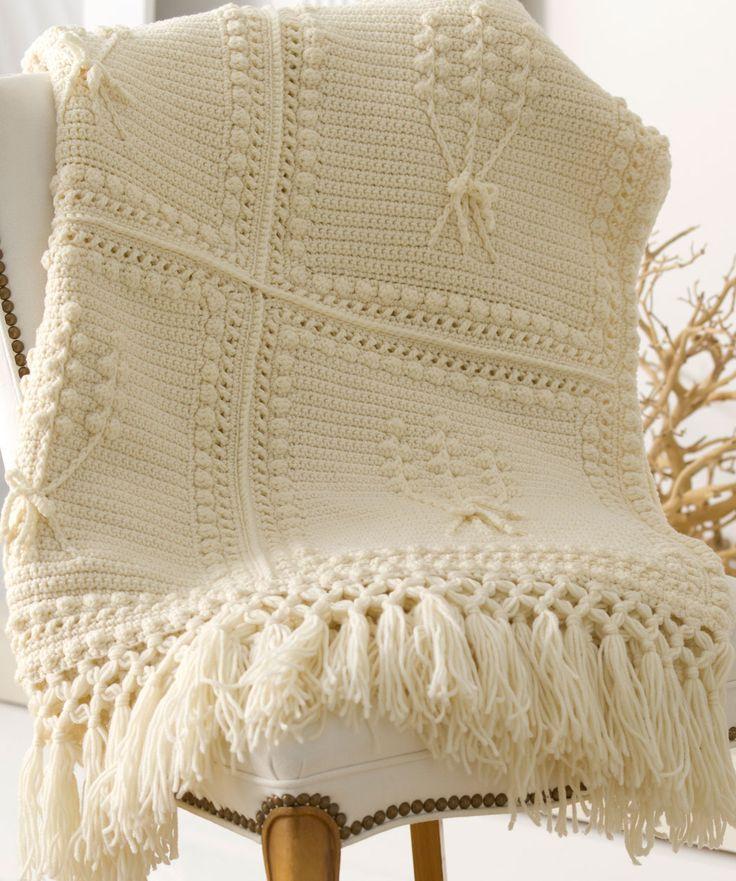 Aran Nosegay Crochet Throw Crochet Pattern | Red Heart