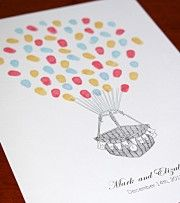 Hot air balloon, personalised with Mr & Mrs on buntings. Fingerprint guest book or thumbprint guest book. Weddings, engagements & elopements.