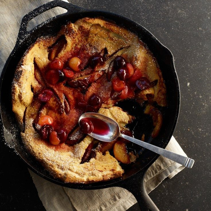 Peach Dutch Baby Pancake with Cherry Compote | Recipe in ...