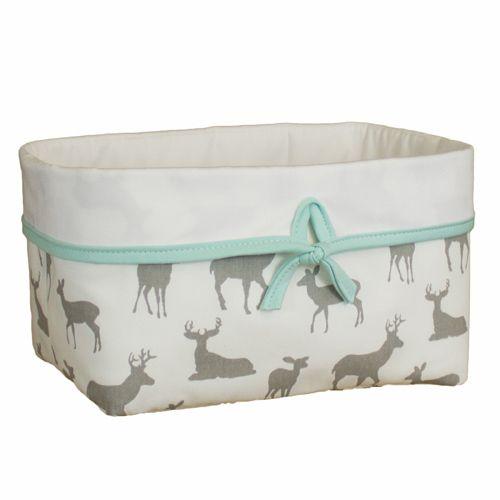 Sweet Kyla - GREY DEER Soft Nursery Basket - Deer Fabric, $34.99 (http://www.sweetkyla.com/grey-deer-soft-nursery-basket-deer-fabric/)