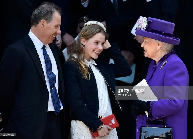 David Armstrong-Jones and Margarita Armstrong-Jones speak to Queen Elizabeth II as they leave a Service of Thanksgiving for the life and work of Lord Snowdon at Westminster Abbey on April 7, 2017 in London, United Kingdom..
