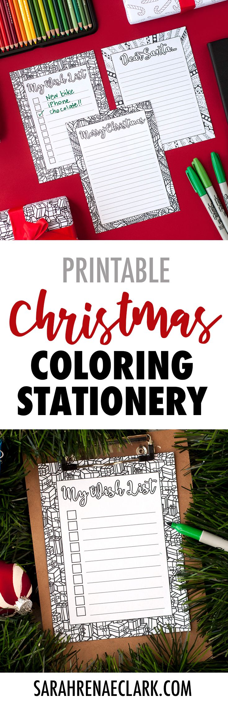 Color your own Christmas stationery with these fun holiday templates! Send a Christmas letter to a friend, write a letter to Santa with your kids or make your own gift wish list on these coloring Christmas letterheads.
