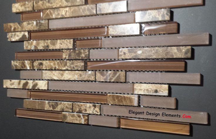 Polished Dark Emperador Stone Mosaic & Brown Glass Tile Kitchen Backsplash (Z30)