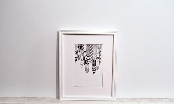 Original Ink Drawing - geometric design, 4x6 abstract triangle drawing on Bristol