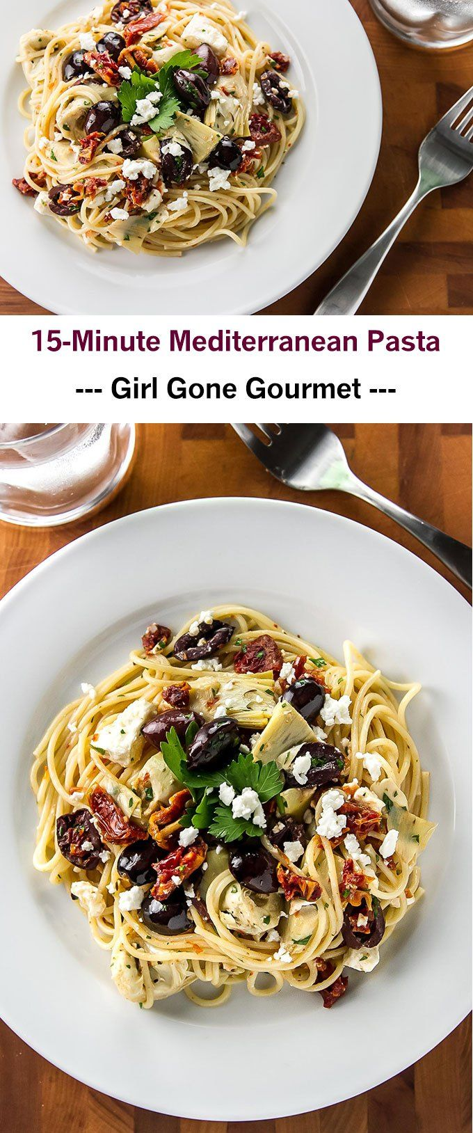 A 15-minute pasta with kalamata olives, sun dried tomatoes, artichoke hearts, and feta cheese