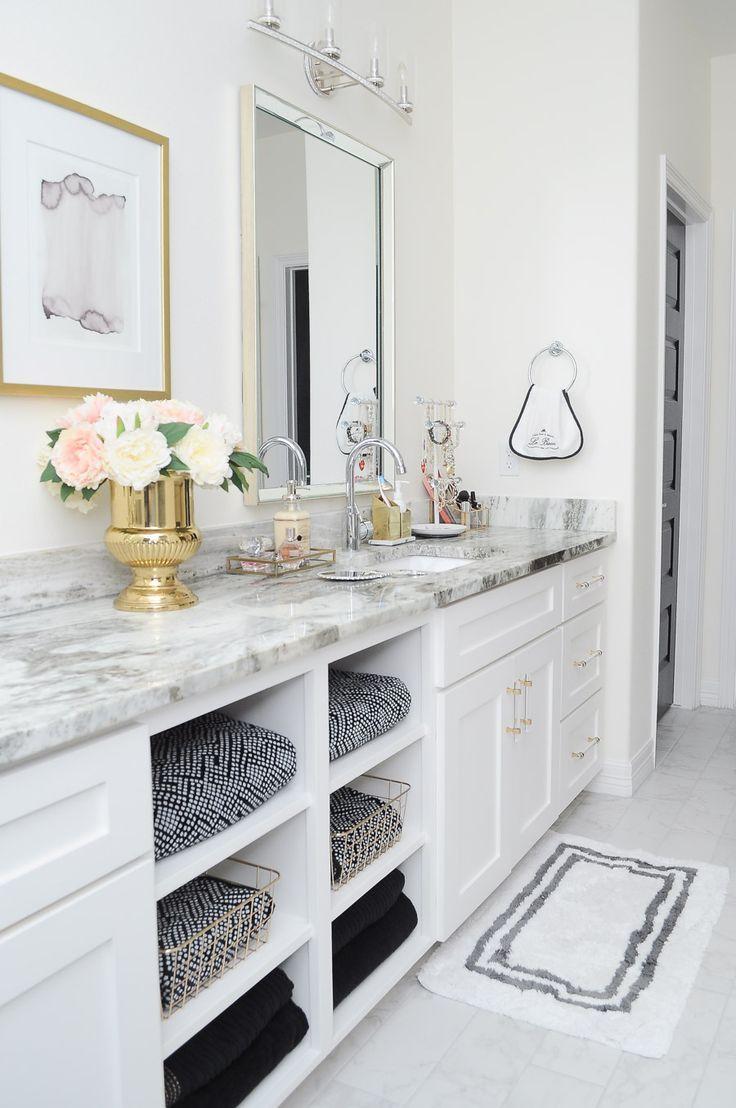 Glam Gold White Master Bathroom Refresh White Master Bathroom