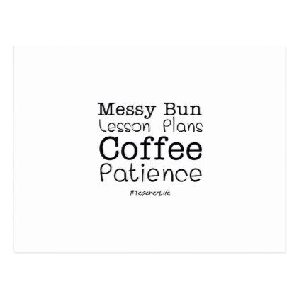 #Teacher Life Lesson Plans Coffee Patience Funny Postcard - #funny #coffee #quote #quotes