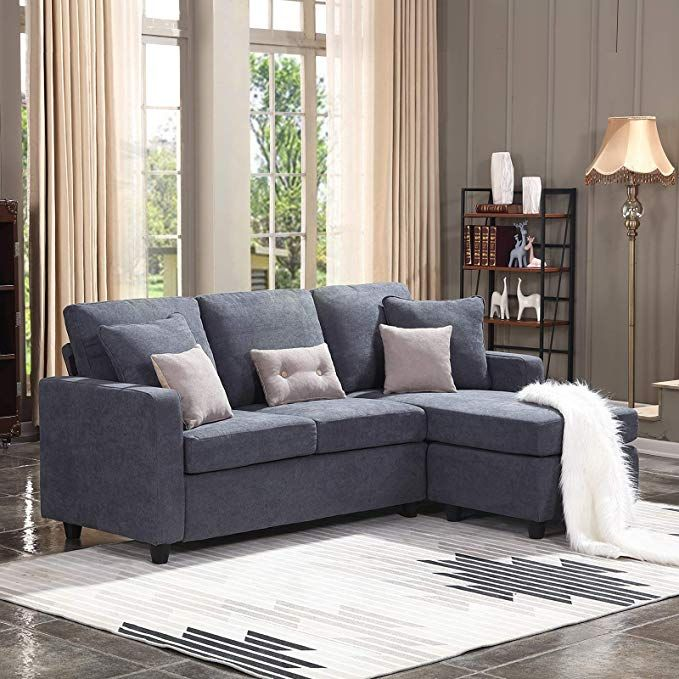 Amazon Com Honbay Convertible Sectional Sofa Couch L Shaped Couch With Modern Linen Fabric For Small Sectional Sofa Couch Couches Living Room Couches Living