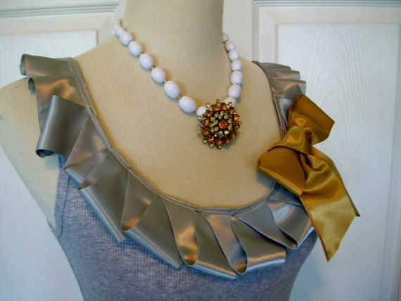 Embellished Tank Top with Satin Gray Ruffle and by RaspberryMarket