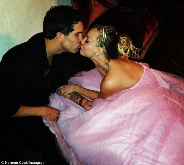 Perfect in pink: Kaley Cuoco wore a pink strapless gown to wed Ryan Sweeting on New Year's Eve in Los Angeles