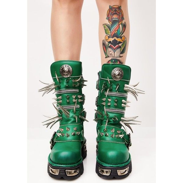 Maria ke Fisherman Emerald Spike Boots ($650) ❤ liked on Polyvore featuring shoes, boots, green, green shoes, spiked boots, emerald green shoes, emerald shoes and spiked shoes