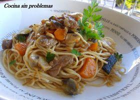 Cocina Sin Problemas: Espaguetis integrales con ternera y verdura en wok.
