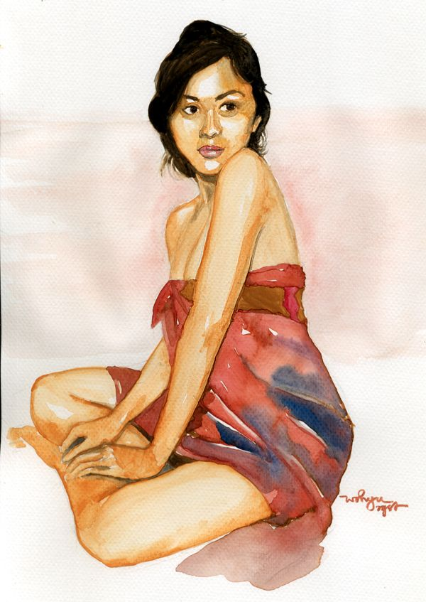 my watercolor paint for a model from Bali , 2014  ( gadis Bali )