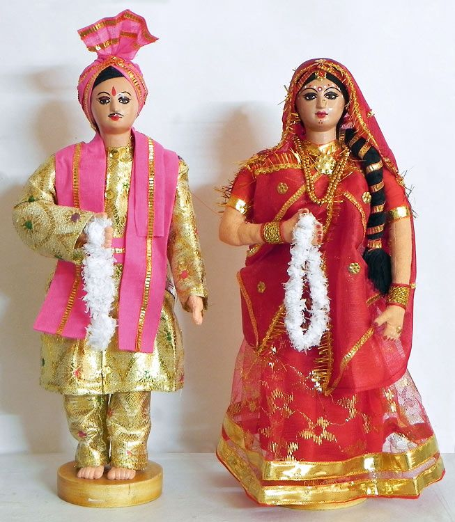Rajput Bridal Couple from Rajasthan, India - Costume Cloth Dolls