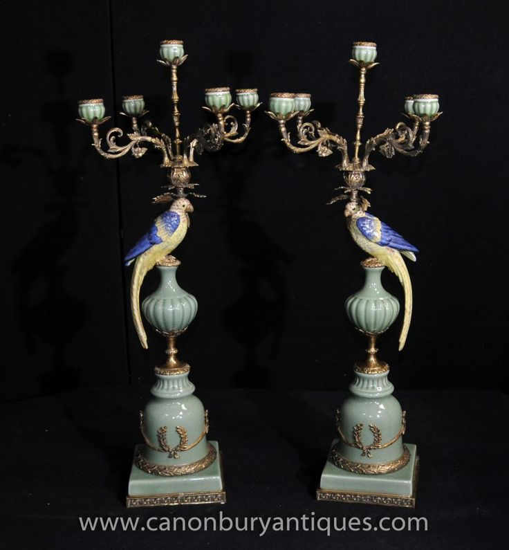 Pair French Porcelain Parrot Candelabras Ormolu Stands