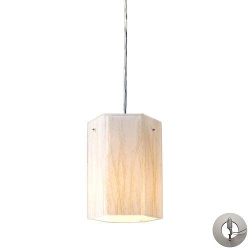 19031/1-LA | Modern Organics 1 Light Pendant In Polished Chrome And White Sawgrass - Includes Recessed Lighting Kit - 19031/1-LA