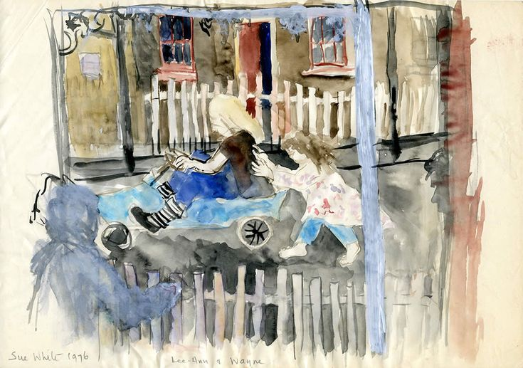 Sketch of Lee-Ann and Wayne with home-made go-cart in Annandale Street, 1976 watercolour 21 x 29 cm by © Susan Dorothea White