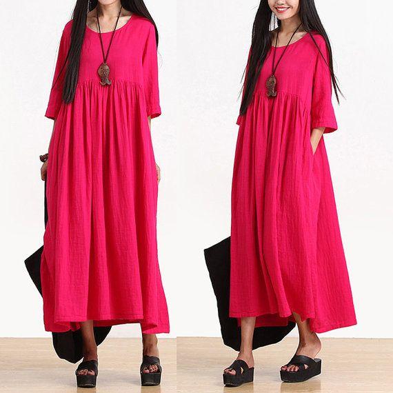Loose Fitting Long Maxi Dress - Summer Dress  - Short Sleeve Cotton Sundress for Women