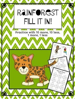 "Your students will practice place value with these fun 100's chart activities!  These ""Fill it in"" sheets, encourage students to ""use what they know"" about the patterns on the hundreds chart to fill in the missing numbers.  They will use mental math to fill in 10 more, 10 less, 1 more, 1 less - Students practice 4 equations with each card!"