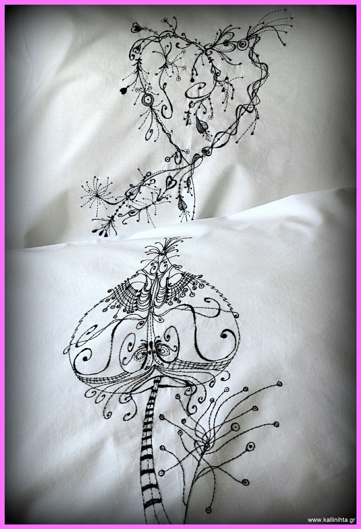 Hand embroidered, custom-made, monogrammed pillowcases. White 50x70 with black stitching: €38