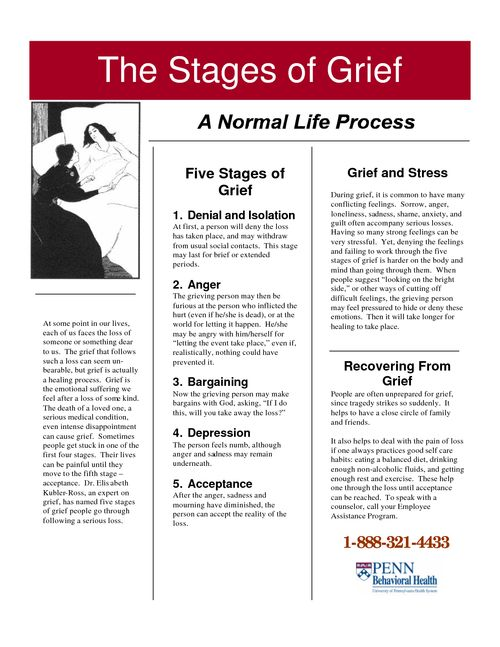 Moves Management Worksheet : The stages of grief yes it s normal and okay