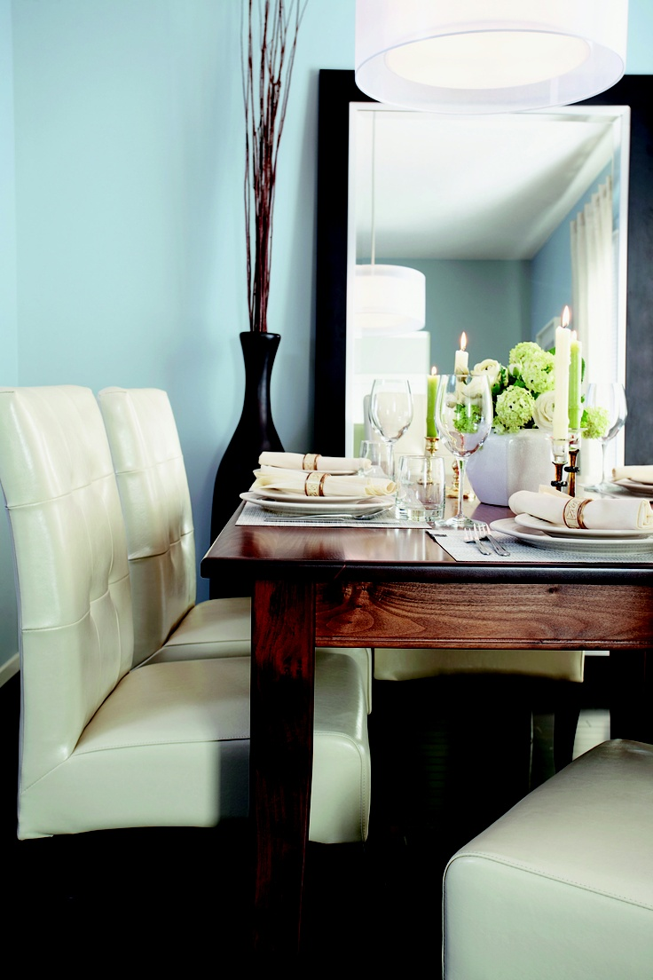 15 best dining room paint colors images on pinterest dining room create a sense of balance by pairing a classic white with a hue like pratt lambert gingham blue indoor paint colors