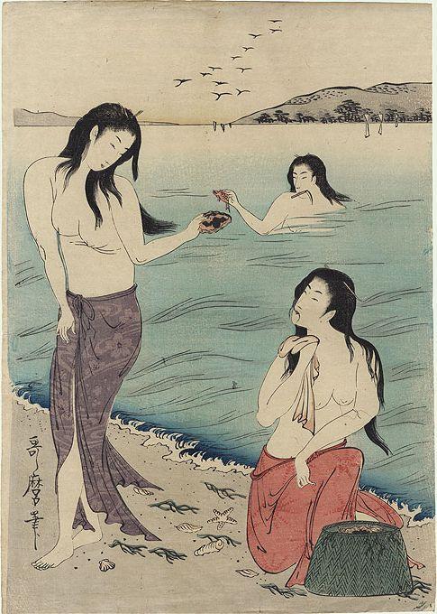3 Awabi (Abalone) Divers by Utamaro (ca. 1790)