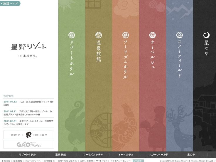 vertical layout for a japanese hotel site