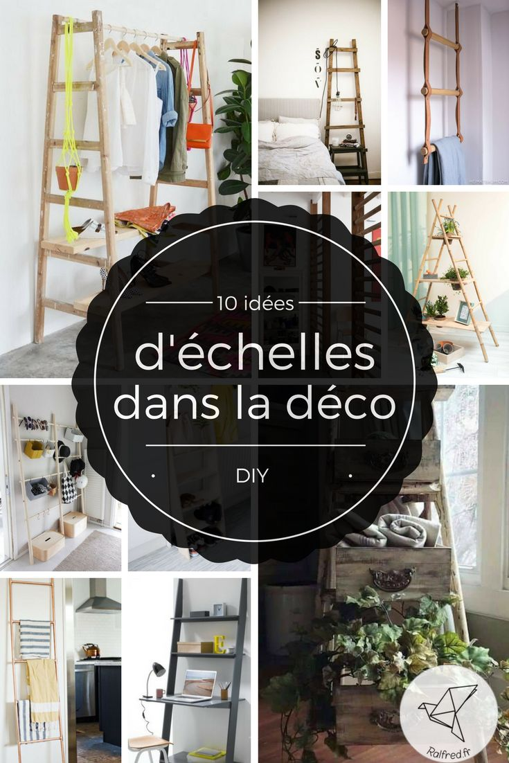 Aujourd'hui, je vous présente 10 idées de décoration à faire vous-même avec une échelle, un escabeau …  Ici un vieil escabeau en bois sur lequel sont posés de vieux tiroirs pour …