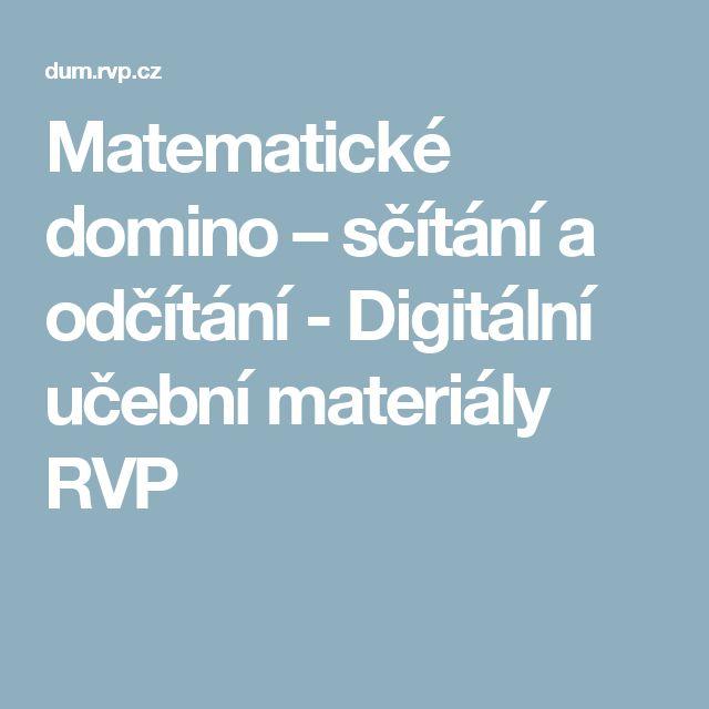Matematické domino – sčítání a odčítání - Digitální učební materiály RVP