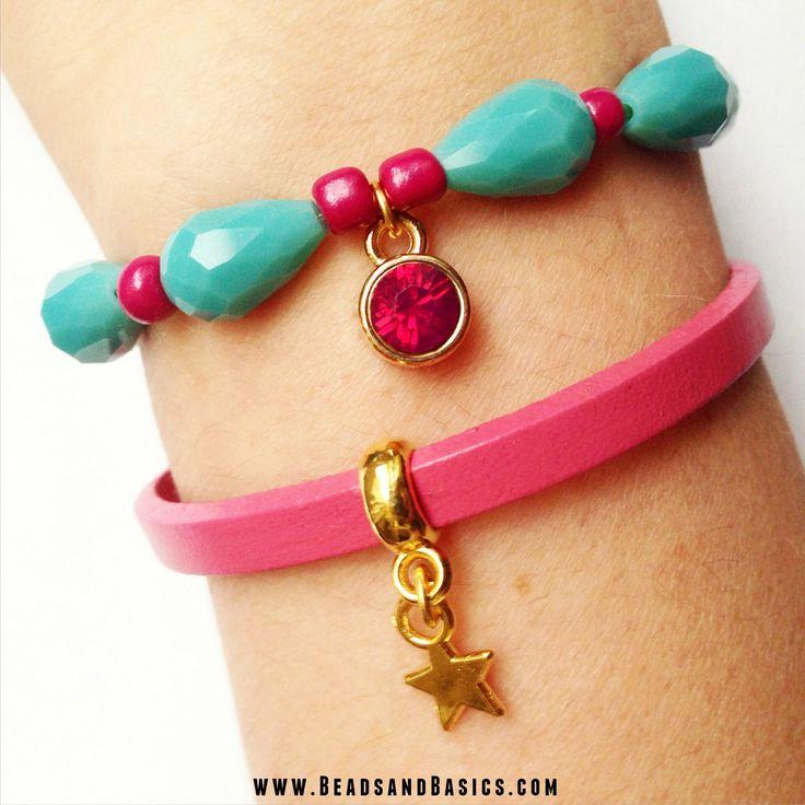DIY Tutorial / Beads / Zelf sieraden maken / Armbandjes / Ketting / Kralen / roze en turkoois armbandjes / roze en turkoois armbandjes