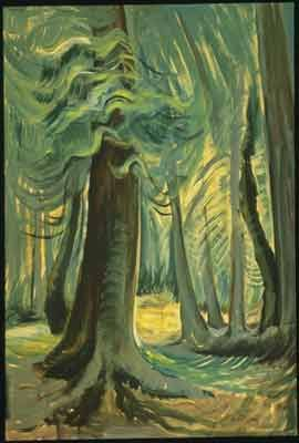 Emily Carr,  Deep Forest, Lighted Fine Art Reproduction Oil Painting